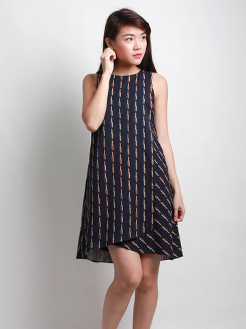 Miranda Printed Layer Dress Navy