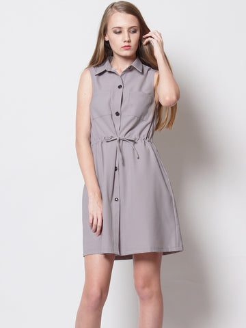 Daniella Utilitarian Shirt Dress Grey
