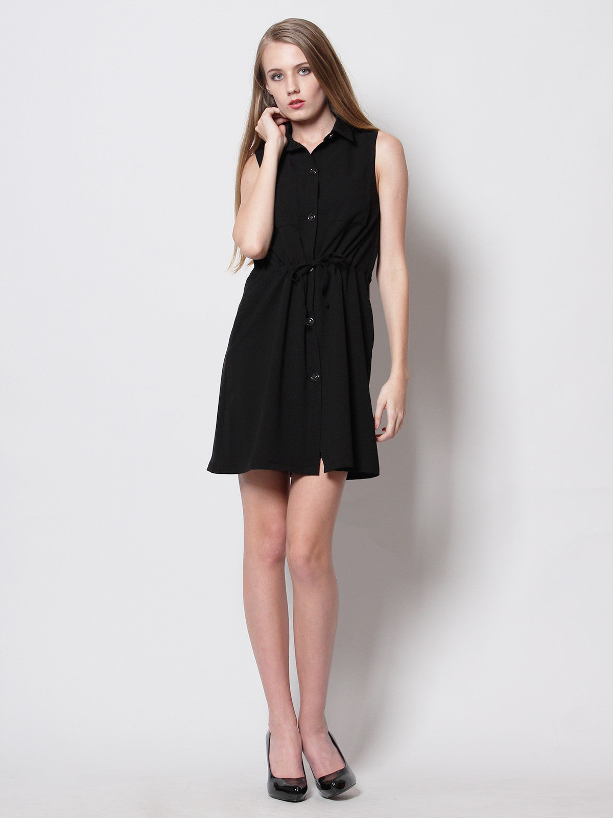 Daniella Utilitarian Shirt Dress Black