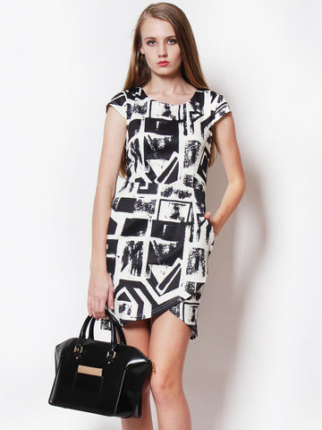 Karen Abstract Printed Work Dress Black