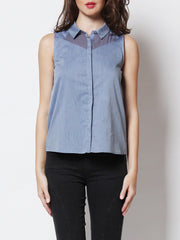 Demi Sleeveless Mesh Shirt Denim