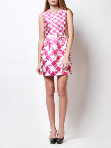 Reyna Geometrix Print Dress Pink