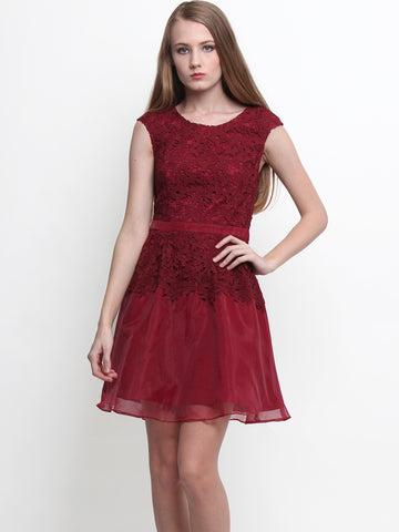 Blossoms Crochet Floral Dress Wine Red