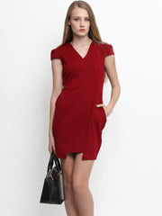 Myrelle Capped Sleeve Work Dress Maroon