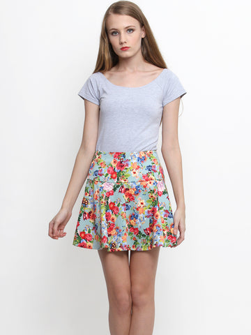 Audrey Floral Skirt Mint