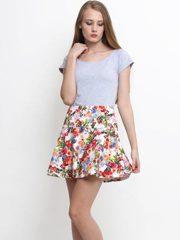 Audrey Floral Skirt White