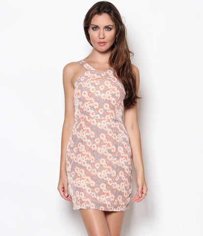 Lynda Cutout Floral Dress Peach