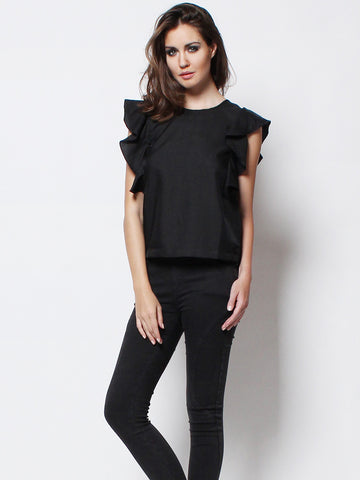 Flutter Sleeves Top Black