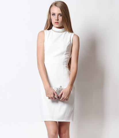 April High Neck Dress White