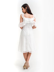 Isabella Cold Shoulder Crochet Dress White