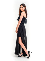 Jessica Off Shoulder Chiffon Two way Dress in Black