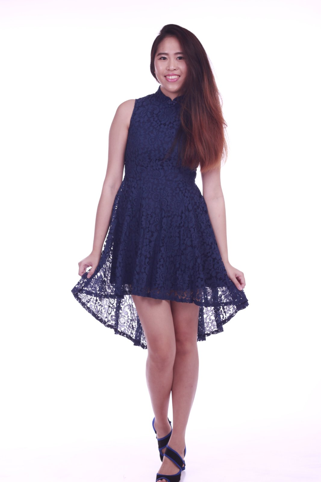 Seraphina Hi Lo Cheongsam Dress in Navy