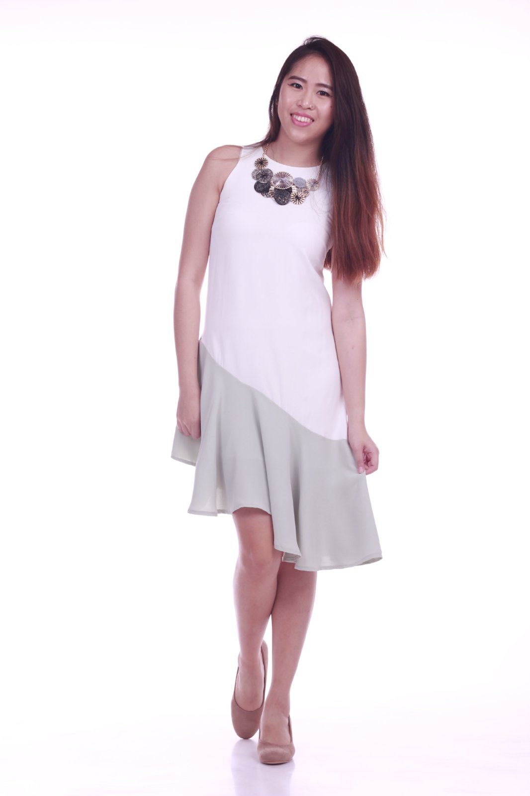 Hadlee Asymmetrical Midi Dress in White and Green