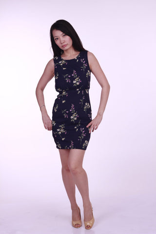 Rhea Floral Sheath Dress in Navy