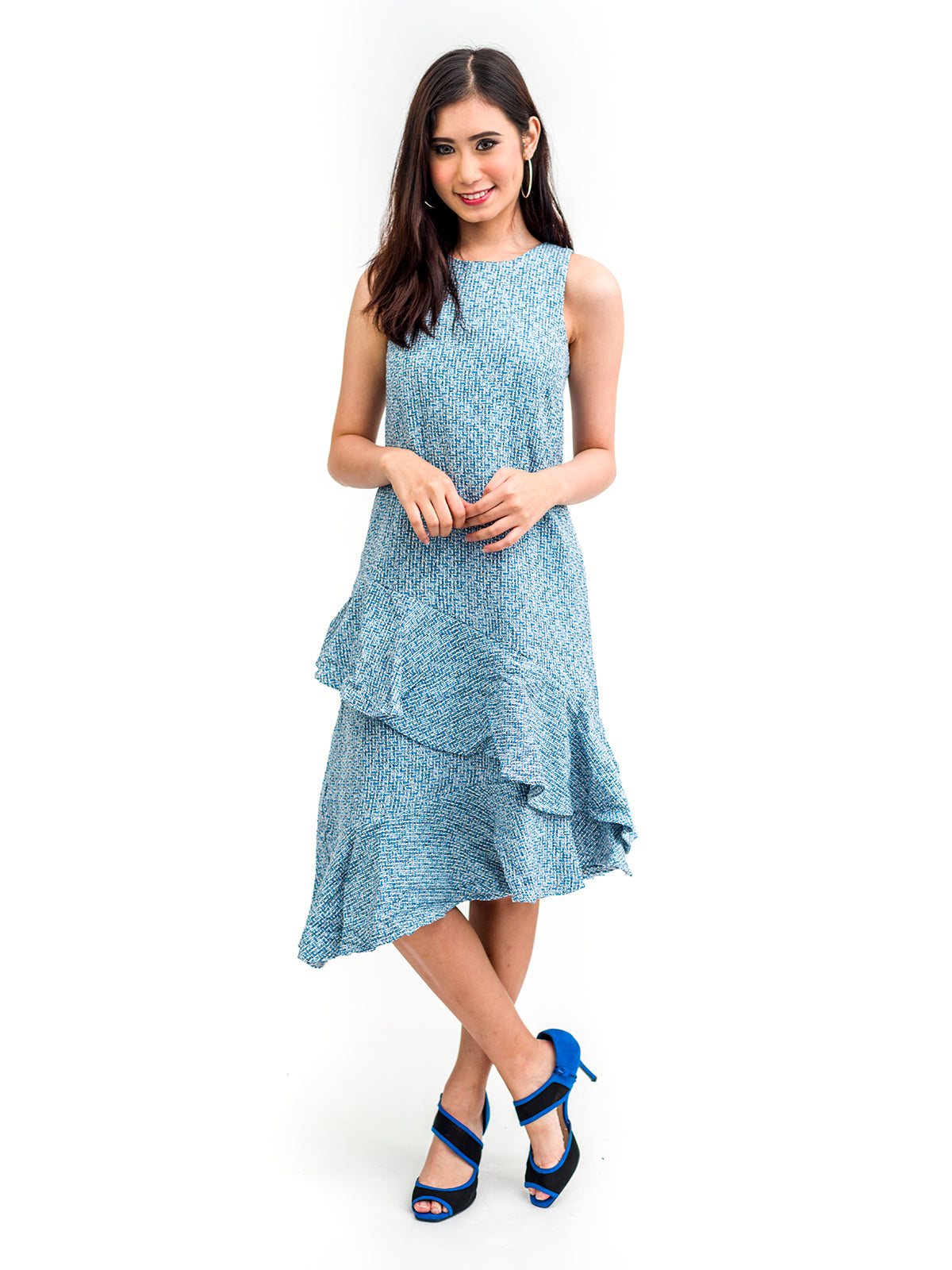 Maren Irregular Ruffle Drop Waist Dress in Blue