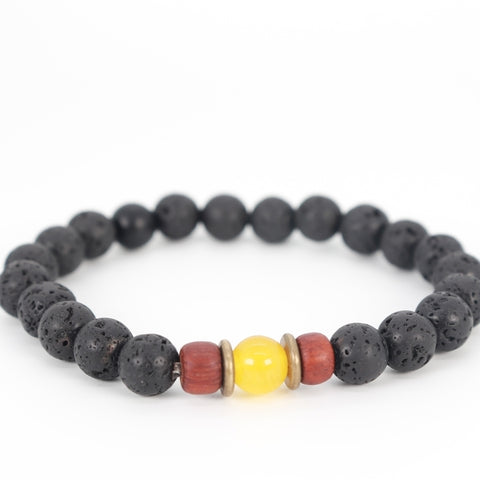 Lava and yellow calcite bracelet