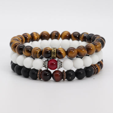 Stack 3 tiger eye and jade bracelet