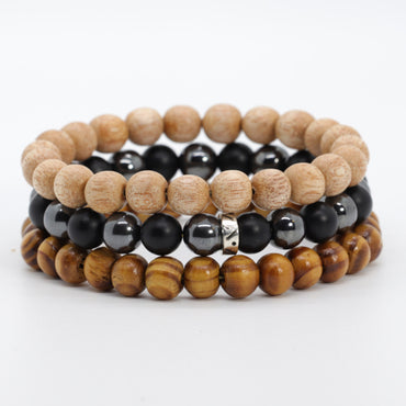 Stacked 3 Onyx & Wood Bracelet