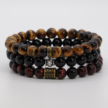 Stacked 3 Tiger Eye & Black Onyx Bracelet