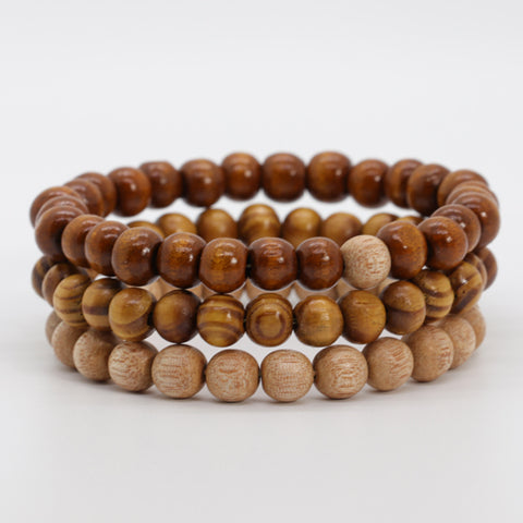 Stacked 3 Wood Bracelet