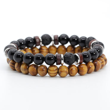 Stacked Black Onyx & Wood Bracelet