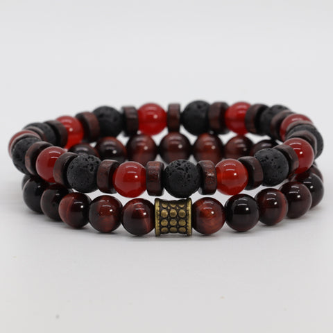 Stacked Red Tiger & Carnelian Bracelets