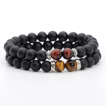 Stacked Yellow & Red Tiger Eye Bracelet