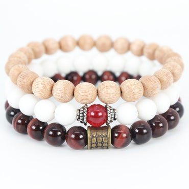 Stacked 3 red tiger and jade bracelet
