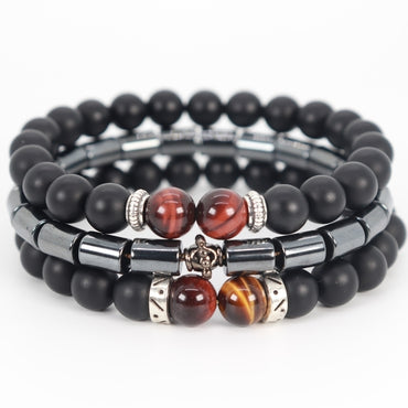 Stacked 3 Tiger Eye Stone Bracelet