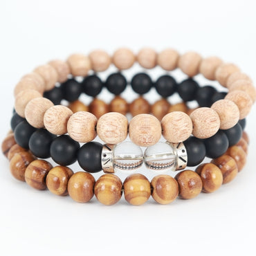 Stacked 3 Wood & Black Onyx Bracelet