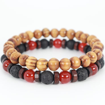 Stacked Carnelian & Wood Bracelet