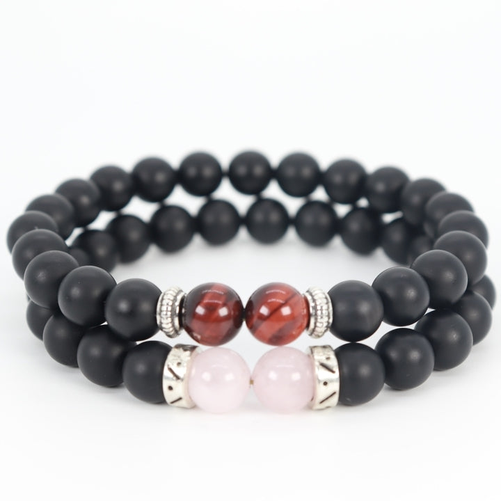 Stacked Rose Quartz & Tiger Eye Bracelet