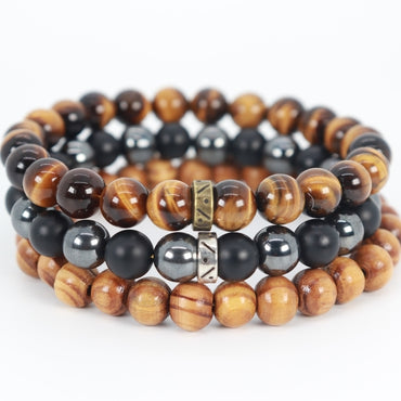 Tiger Eye & Onyx Bead Bracelet