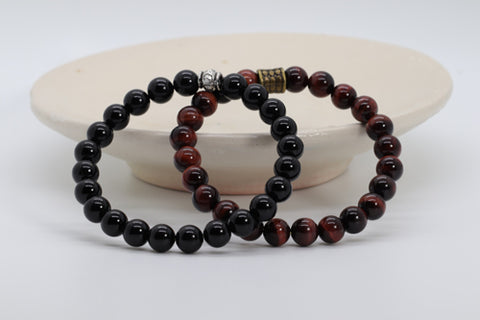 Black Onyx & Red Tiger Eye Bracelet