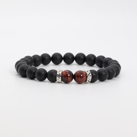 Red Tiger Eye & Onyx Bracelet