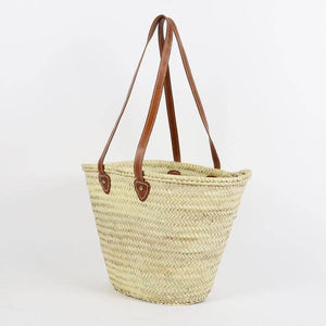 Leather + Straw Market Bag