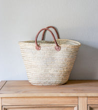 Load image into Gallery viewer, French Market Bag with Leather Handles
