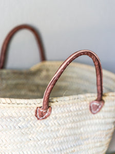 French Market Bag with Leather Handles