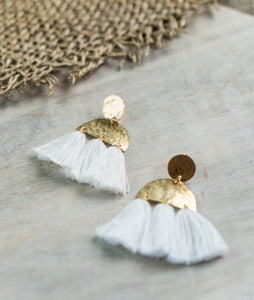 Brass Tassel Earrings - White