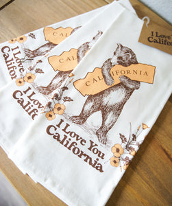 California Bear + Poppy Tea Towel