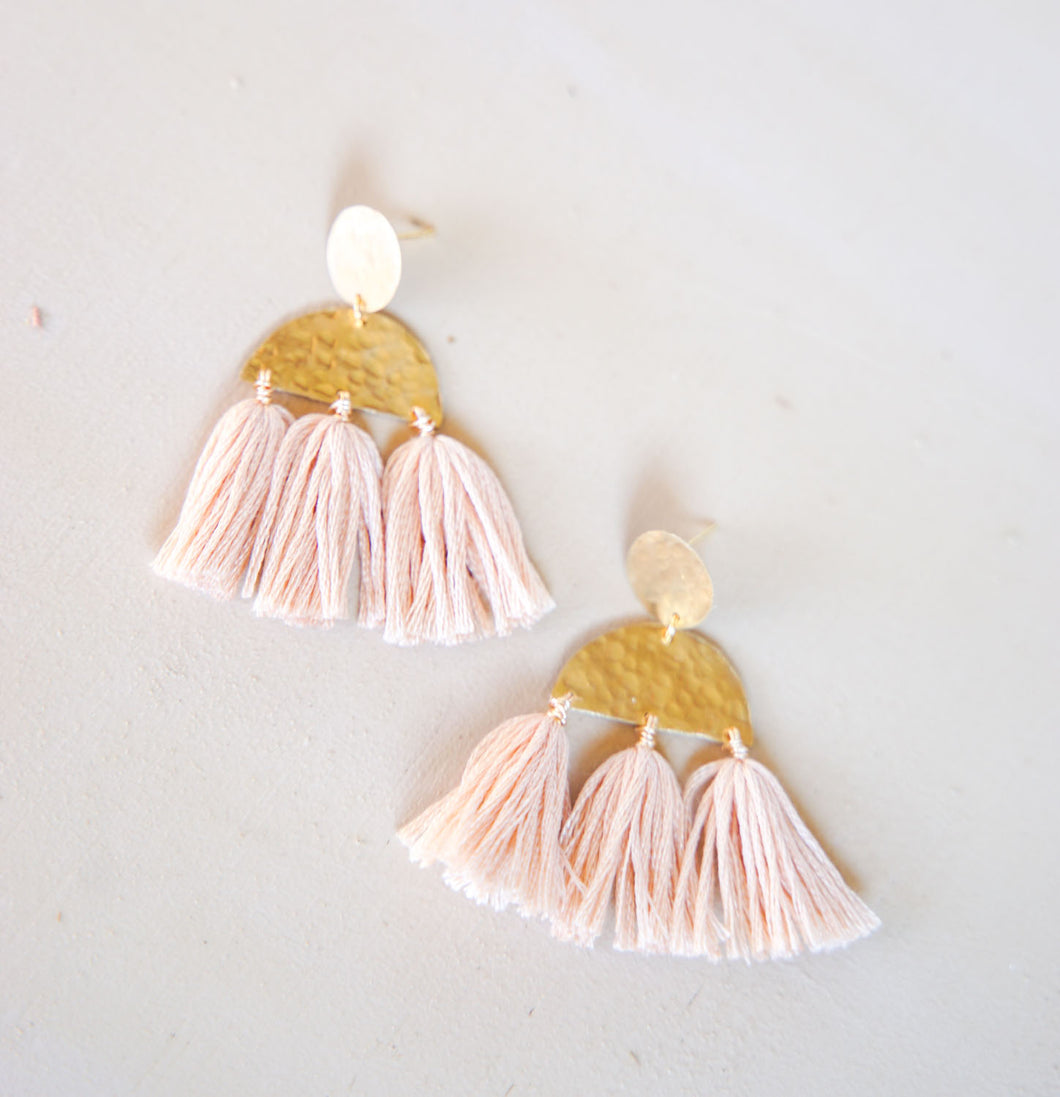 Brass Tassel Earrings - Blush