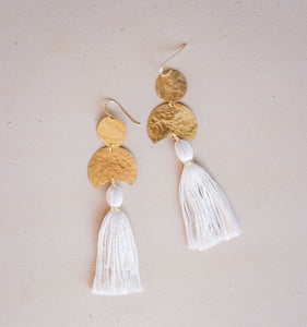 Crescent Moon Tassel Earrings