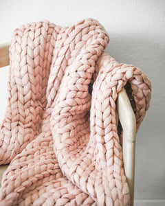 Chunky Knit Throw - Mauve