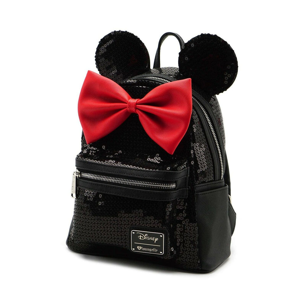 LOUNGEFLY Minnie Black Sequin Mini Backpack