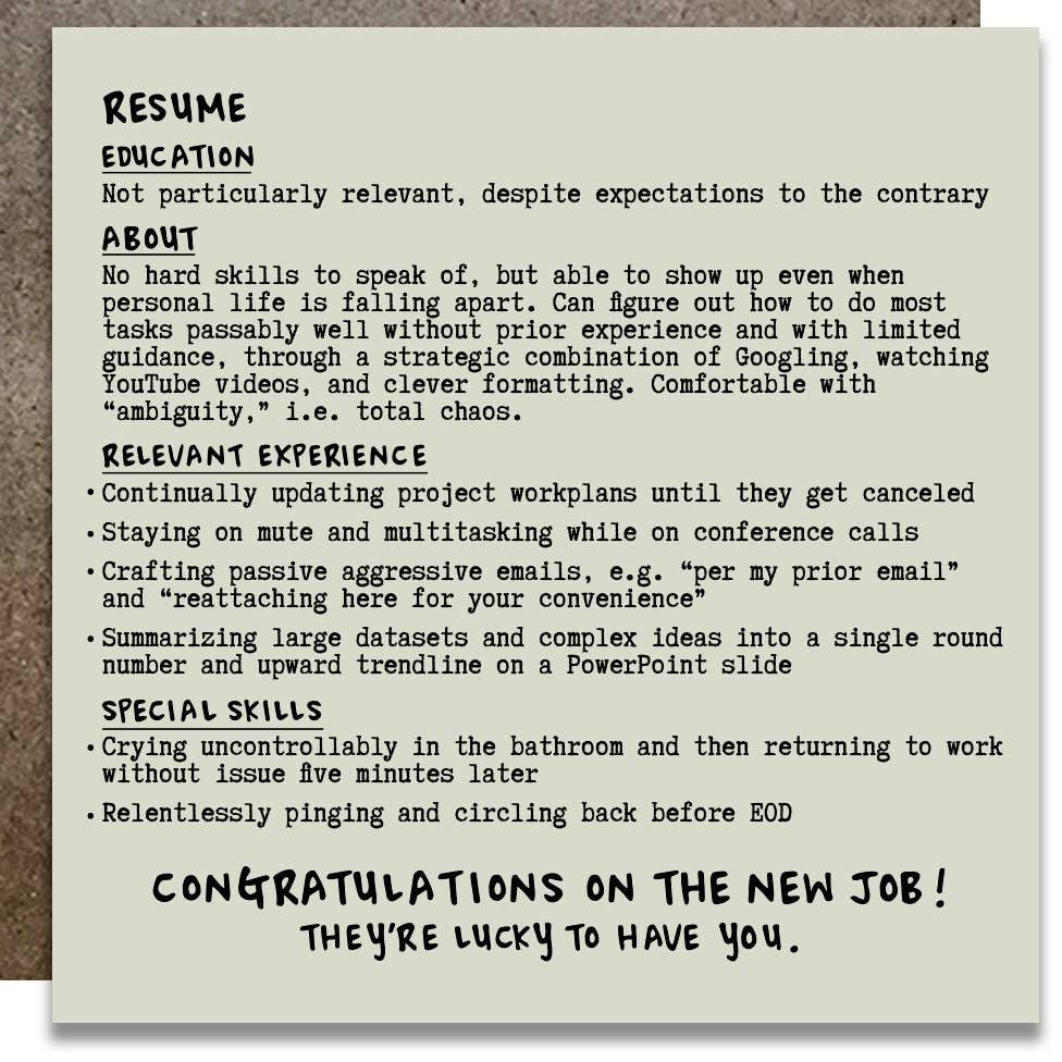 KWOHTATIONS CARDS - Actual Resume New Job Card