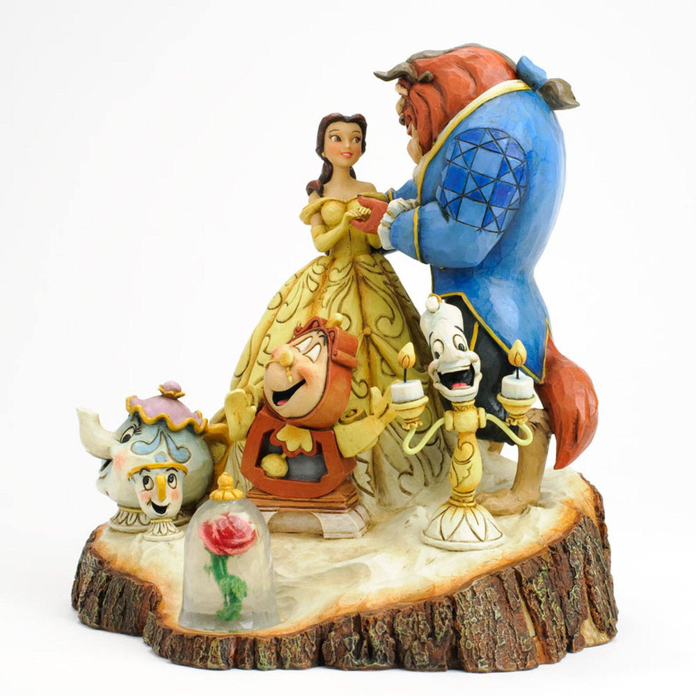 DISNEY TRADITIONS By Jim Shore - Belle & Beast Carved By Heart
