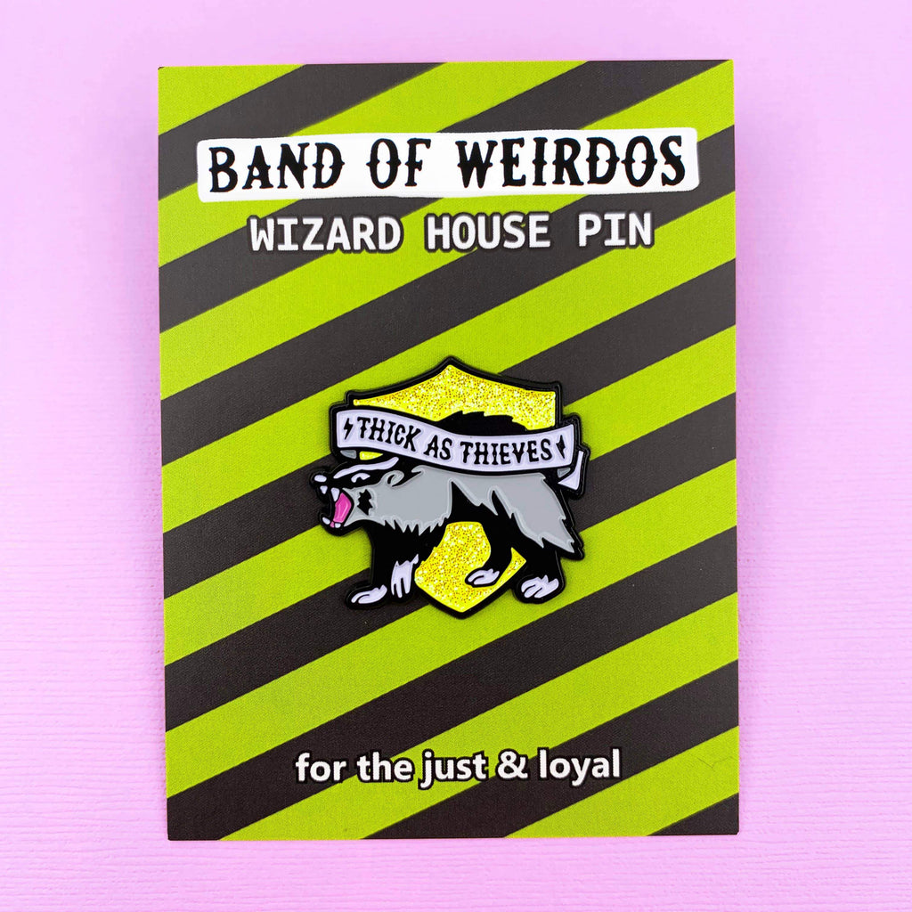 BAND OF WEIRDOS - Wizard House Enamel Pin - Badger
