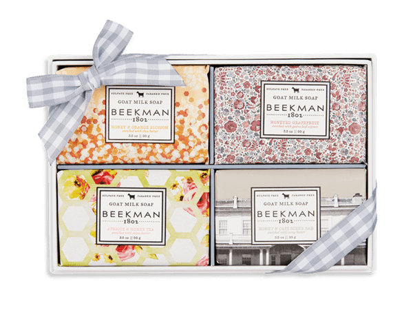BEEKMAN Milk & Honey 4-Piece Travel-Size Bar Soap Set