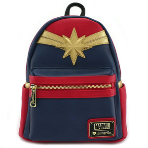 LOUNGEFLY Captain Marvel Cosplay Mini Faux Leather Backpack
