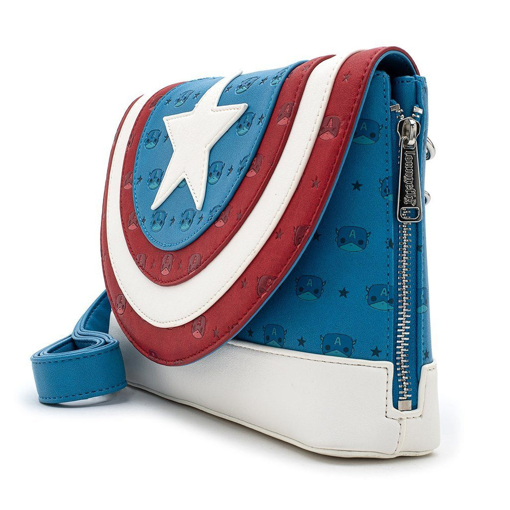 LOUNGEFLY X POP Captain America Debossed Shield Crossbody